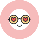 glasses, hearts icon