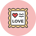 love, romance, stamp, valentines icon