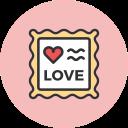 romance, stamp, valentines, love icon
