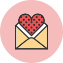 dots, heart, mail, romance, valentines icon