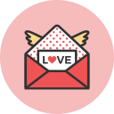 love, mail, romance, valentines, wings icon