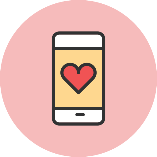 heart, smartphone icon