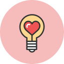 bulb, heart, love icon