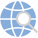globe, location, magnifying glass, map, navigation, search, search location icon