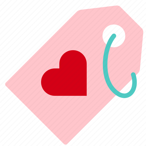 heart, love, shopping, tag, valentine icon