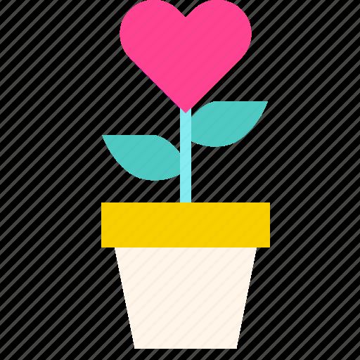 Flower, heart, love, pot, valentine icon - Download on Iconfinder