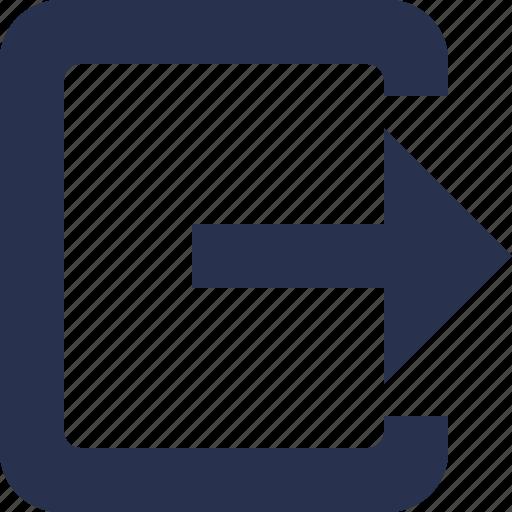 arrow, exit, login, logout icon