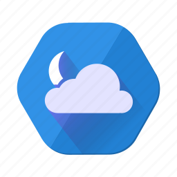 cloud, clouds, cloudy, forecast, moon, night, weather icon