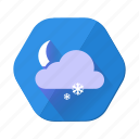 cloud, moon, snowfall, cloudy, forecast, night, weather