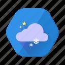 cloud, forecast, night, snowfall, star, weather, winter icon