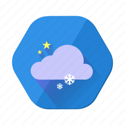 cloud, forecast, night, snowfall, star, weather, winter icon