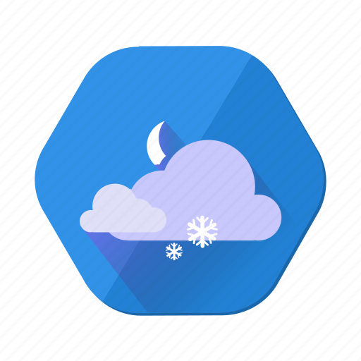 cloudy, forecast, moon, night, snowfall, weather, winter icon