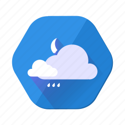 clouds, cloudy, forecast, moon, rain, temperature, weather icon