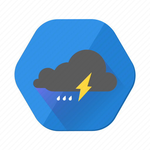 cloud, clouds, cloudy, forecast, lightning, rain, weather icon