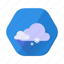 cloudy, forecast, snowfall, weather, winter icon