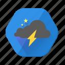 cloudy, lightning, star, night, storm, weather