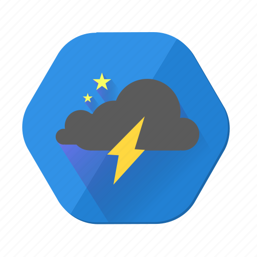 cloudy, lightning, night, star, storm, weather icon