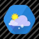 clouds, cloudy, forecast, snowfall, sun, sunny, winter icon