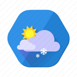cloudy, day, forecast, snowfall, sun, weather, winter icon