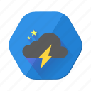 cloud, dark, lightning, moon, night, star, weather icon