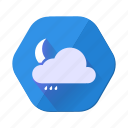 moon, rain, cloudy, forecast, night, weather, clouds
