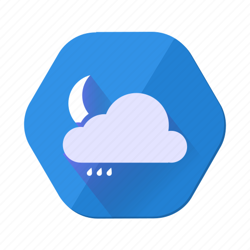 clouds, cloudy, forecast, moon, night, rain, weather icon