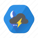 clouds, forecast, lightning, moon, rain, storm, weather icon