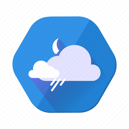 cloudy, forecast, moon, night, rain, shower, weather icon