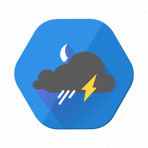 lightning, moon, night, rain, shoewr, shower, weather icon