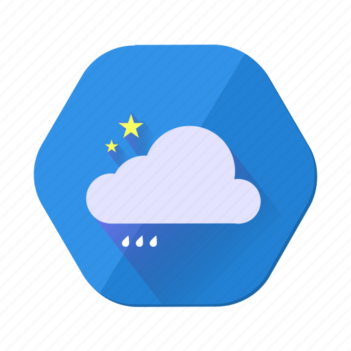 cloud, forecast, moon, night, rain, star, weather icon