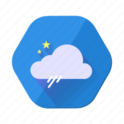 cloud, forecast, night, rain, shower, star, weather icon