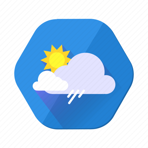 cloud, cloudy, forecast, rain, shower, sun, weather icon
