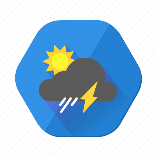 clouds, forecast, lightning, rain, shower, sun, weather icon