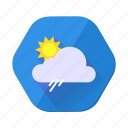 clouds, forecast, rain, shower, sun, sunny, weather icon