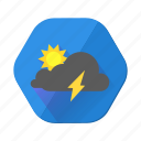 clouds, cloudy, day, forecast, lightning, sunny, weather icon