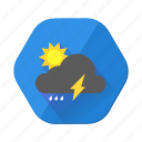 cloud, day, forecast, lightining, rain, sunny, weather icon