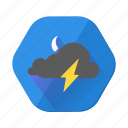 cloudy, lightning, moon, night, storm, thunder, weather icon
