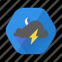 cloudy, lightning, moon, night, storm, thunder, weather