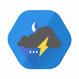cloudy, forecast, lightning, moon, night, rain, weather icon