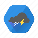 clouds, cloudy, forecast, lightning, rain, shower, weather icon