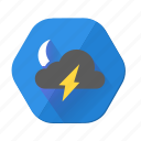 lightning, moon, cloudy, night, storm, thunder, weather