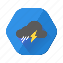 forecast, light, lightning, rain, shower, thunder, weather icon