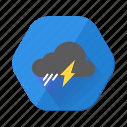 forecast, light, lightning, rain, shower, thunder, weather icon