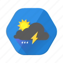 clouds, cloudy, forecast, lightning, moon, rain, sun icon