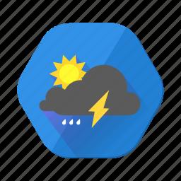 clouds, cloudy, forecast, lightning, moon, rain, sun icon
