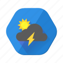 day, forecast, lightning, storm, sun, sunny, weather icon