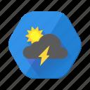 lightning, sunny, day, forecast, storm, sun, weather