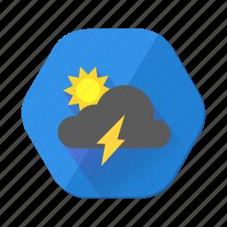 day, forecast, lightning, storm, sun, sunny, weather icon