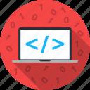 binary, code, coding, development, editor, notebook, programming icon