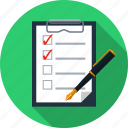 choices, holder, pad, paper, pen, questionnaire, survey icon
